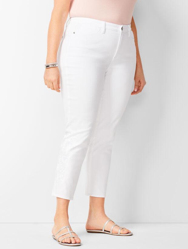 Denim Jegging Crops - Embroidered White