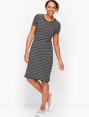 Stripe Fluid Knit Twist Dress