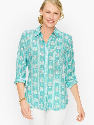 Decorative Palms Button Front Shirt