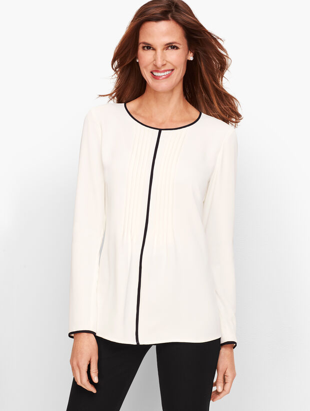 Tipped Pintuck Top by Talbots