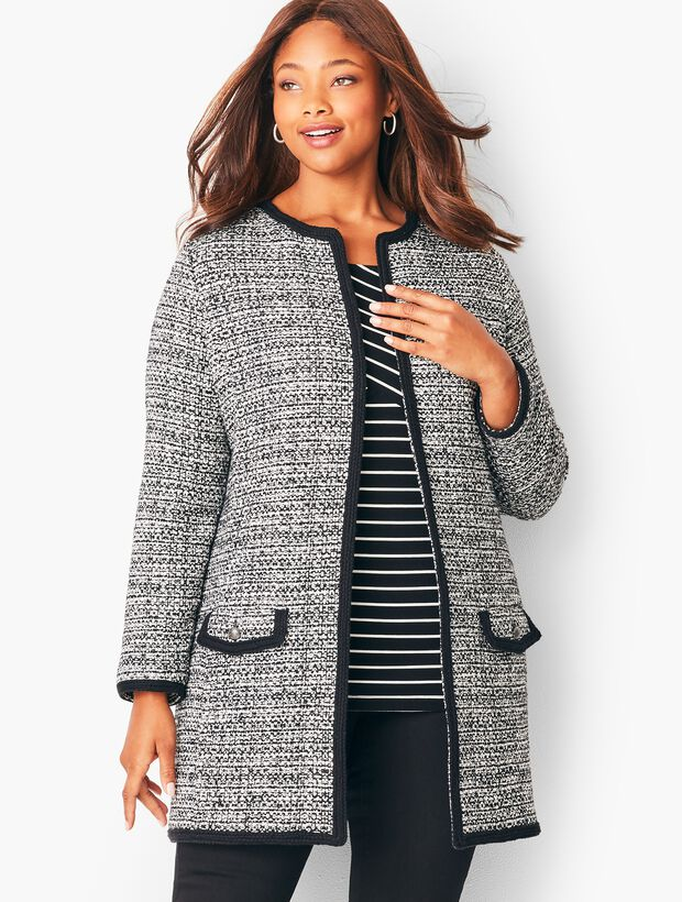 Textured Tweed Sweater Jacket