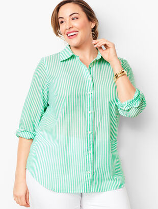 Classic Cotton Shirt - Ocean Stripe