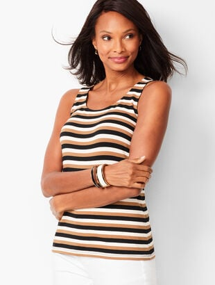 Pima Cotton-Blend Tank - Bold Stripe