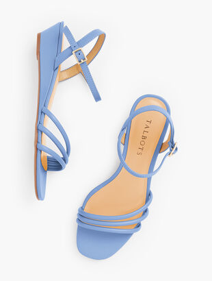 Cora Multi Strap Mini Wedge Sandals - Nappa Leather
