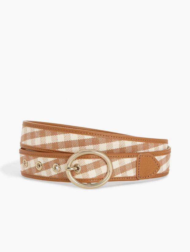 Leather-Trim Gingham Belt