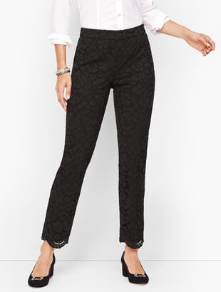Floral Lace Tailored Ankle Pants