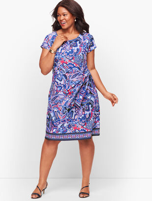 Faux Wrap Jersey Shift Dress - Paisley