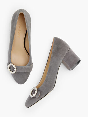 Isa Block Heel Pumps - Pearl Buckle