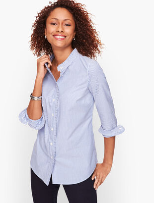Pleated Detail Stripe Shirt