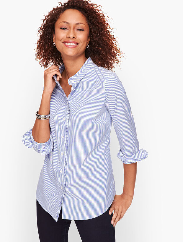 Pleated Detail Stripe Shirt