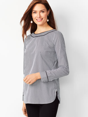 Piped Poplin Tunic - Stripe