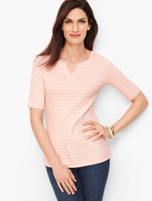 Cotton Split Neck Tee - Danbury Stripe