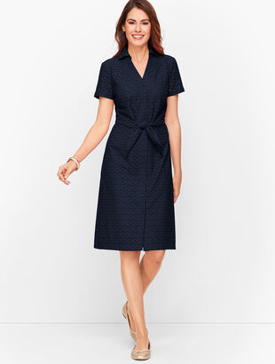 Eyelet Tie Front Shirtdress