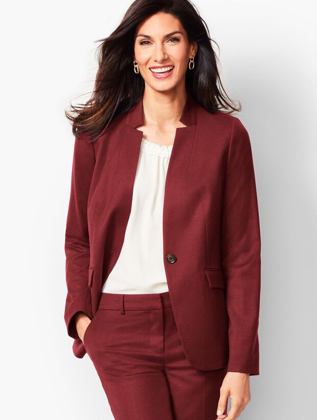 Luxe Italian Flannel Single-Button Blazer