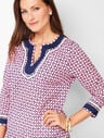 Grosgrain-Trim Geo-Print Cotton Tunic
