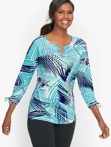 Painted Fronds Split Neck Pullover
