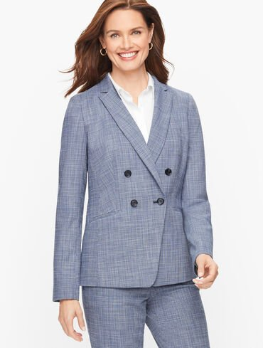 Blended Tweed Double Breasted Blazer