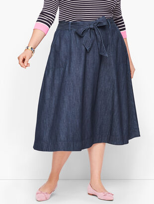 Denim Tie Front Skirt