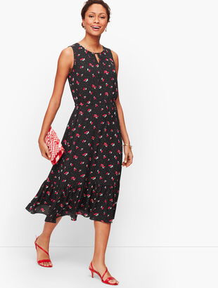 Cherry Print Fit & Flare Dress