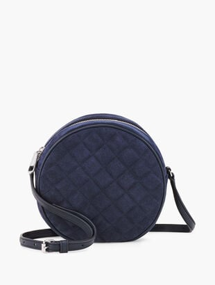 Round Quilted Suede Crossbody Bag