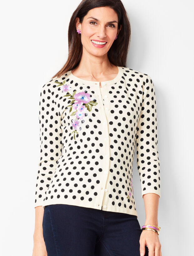 Charming Cardigan - Three-Quarter Sleeve - Embellished