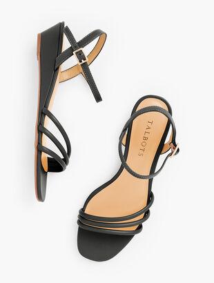 Cora Multi Strap Mini Wedge Sandals - Nappa Leather