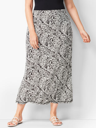 Plus-Size Knit Jersey Maxi Skirt - Paisley