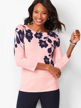 Floral Bateau-Neck Sweater