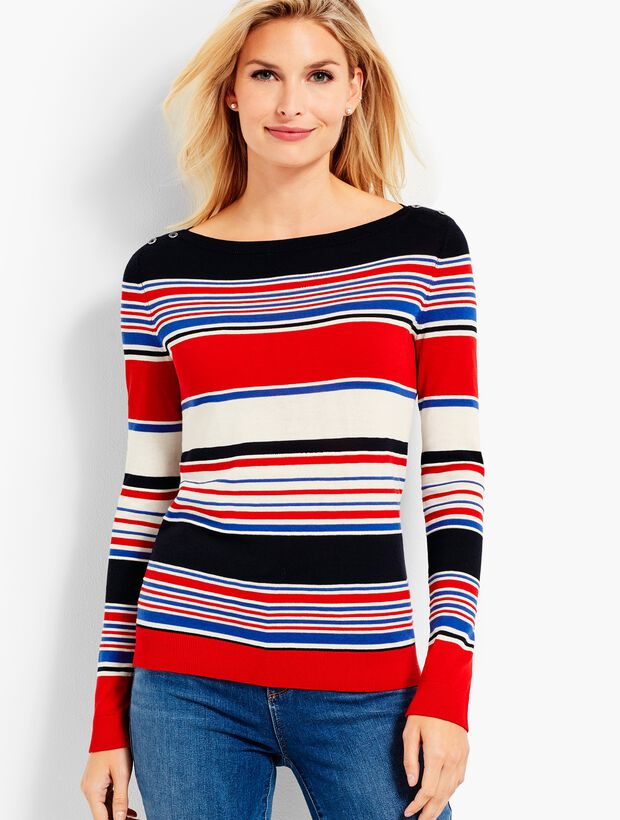 Stripe Bateau-Neck Sweater