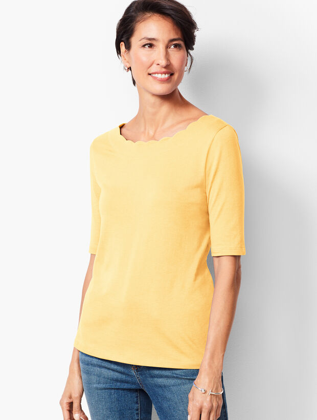 Pima Scallop-Edge Tee - Solid