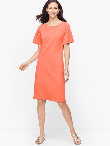 Smocked Sleeve Knit Shift Dress - Solid
