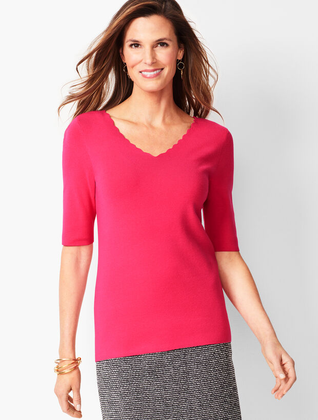 Scallop-Trim V-Neck Sweater