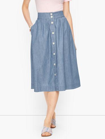 Button Front Denim Skirt - Forest Wash