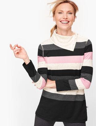 Split Neck Stripe Pullover
