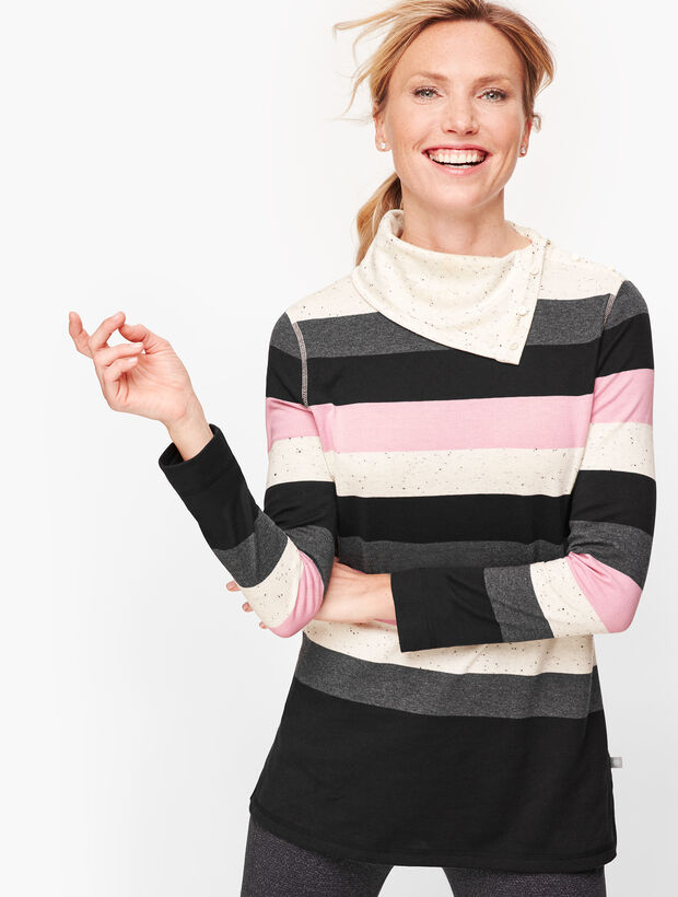 Split Neck Stripe Pullover