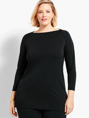 Plus Size Exclusive Knit Jersey Envelope-Neck Tunic