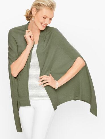 Plus Size Linen Ruana Wrap - Solid