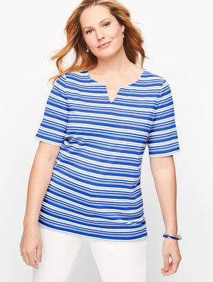 Split Neck Tee - Longboard Stripe