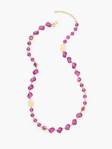 Glass Medallion Long Necklace