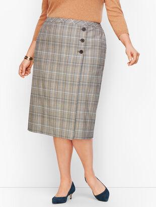 Macintosh Plaid Faux Wrap Pencil Skirt