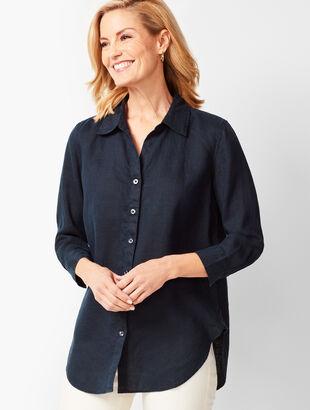 Button-Back Linen Tunic