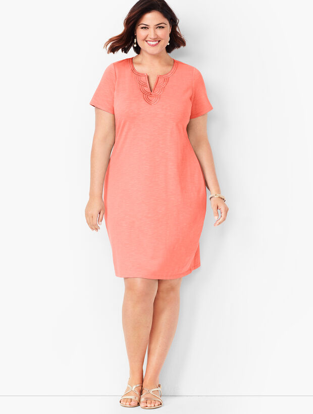 Embroidered Slub Jersey Shift Dress