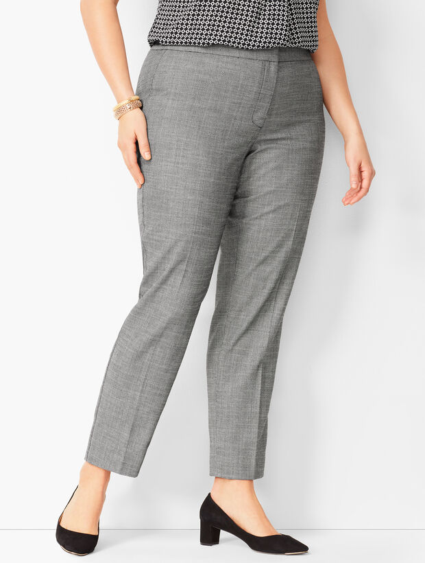 Plus Size Westport Textured Slim Ankle Pants