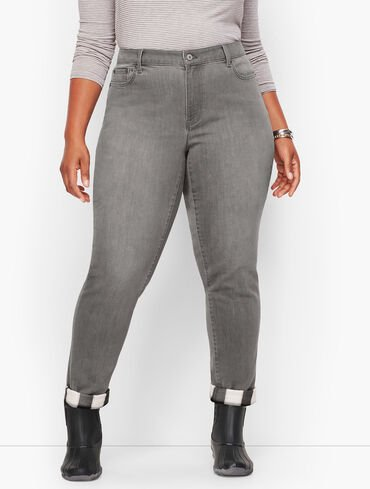 Flannel Cuff Ankle Jeans - Zinc Wash