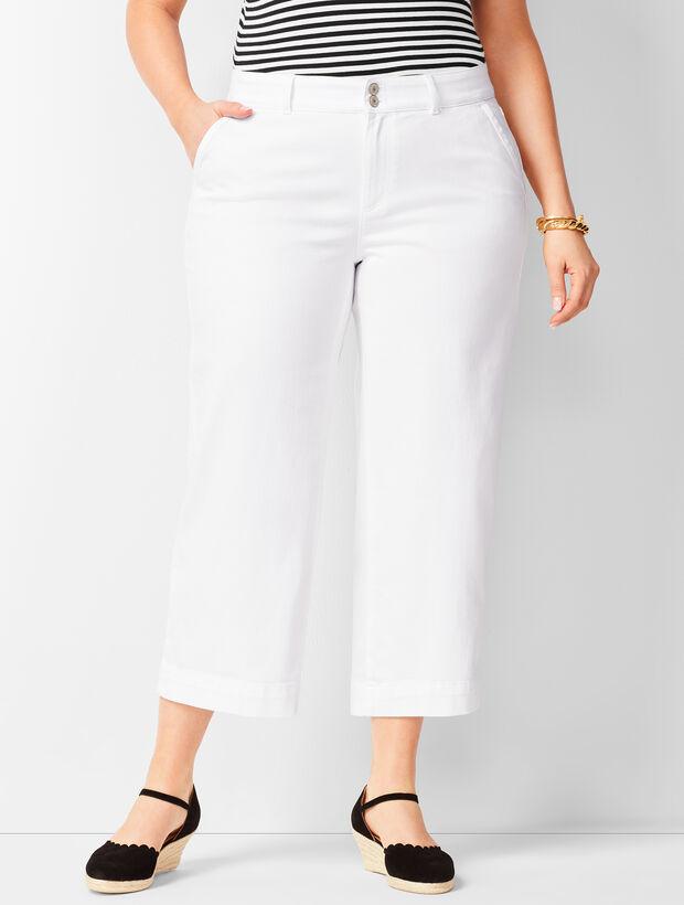 Wide-Leg Denim Crops - White