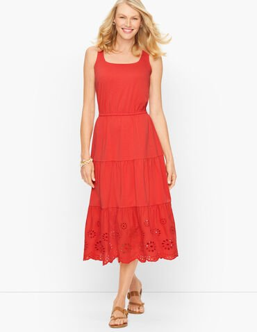 Jersey Eyelet Tiered Fit & Flare Midi Dress