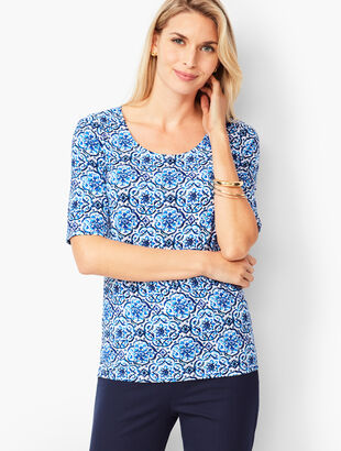 Platinum Jersey Scoop-Neck Top - Tile Print