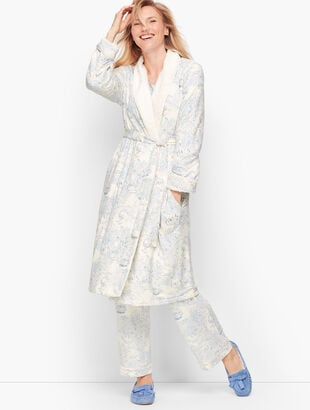 Sherpa Lined Robe - Toile Print