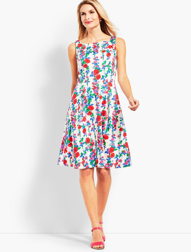 Trellis Floral Fit-and-Flare Dress