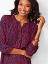 Banded-Collar Popover - Heart Print